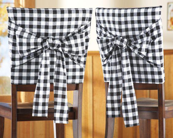 2 Bistro Black Checkered Kitchen Chair Covers Kitchen