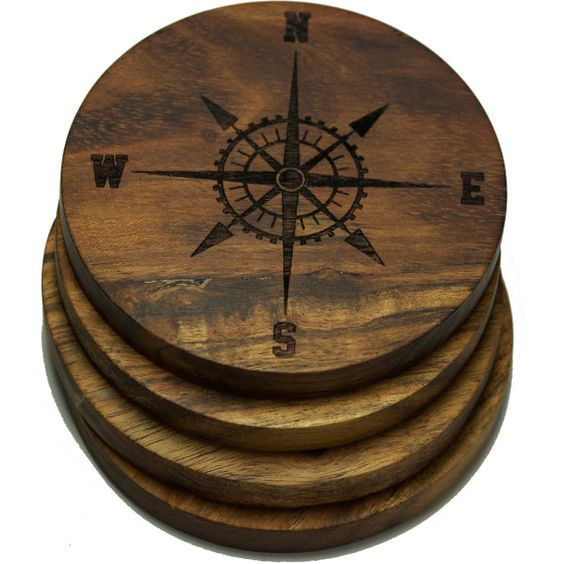 Nautical Compass Rose Coasters Set Of 4 Custom Coasters