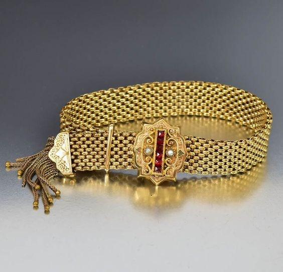 Antique Victorian Garnet Slide Garter Bracelet