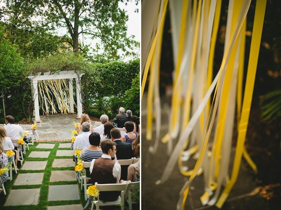 yellow ribbon ceremony decor // photo by http://spindlephotography.com