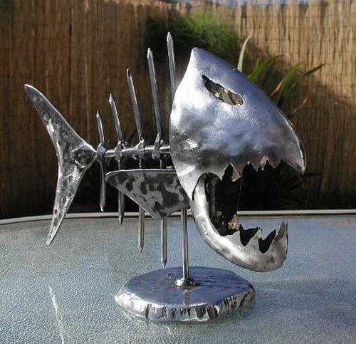 Metal fish art garten deko pinterest metalle fische for Deko fische plastik