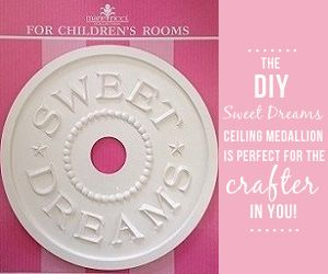 DIY Nursery Project: Sweet Dreams Ceiling Medallion - purchase ready-made medallion from @mariericci and paint it to match your baby's room!