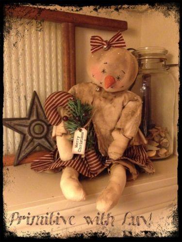 Primitive Snowman, Snowgirl Raggedy Doll, Christmas Candy Cane