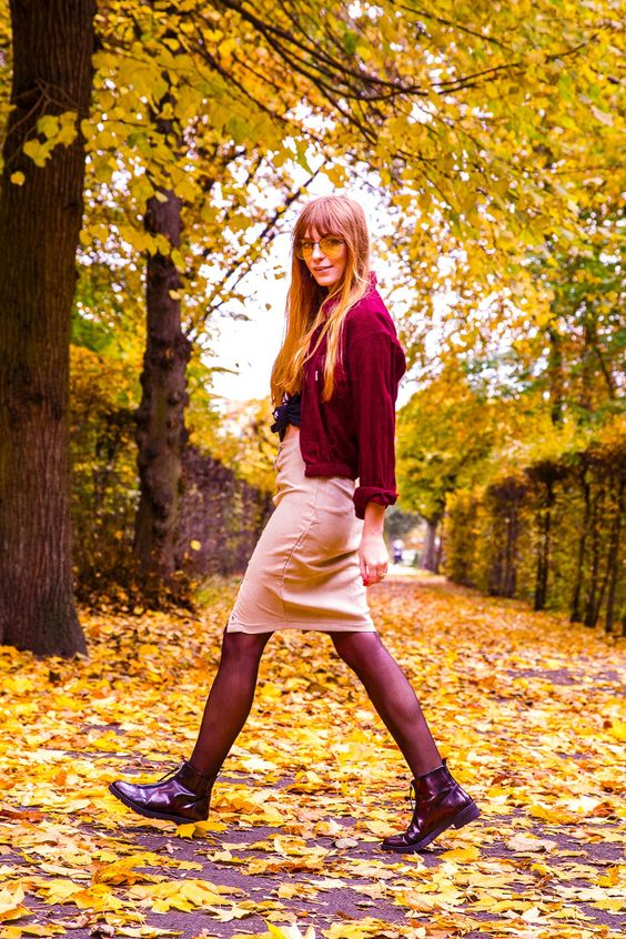 Autumn colors street style, oxblood cord jacket, beige suede midi skirt