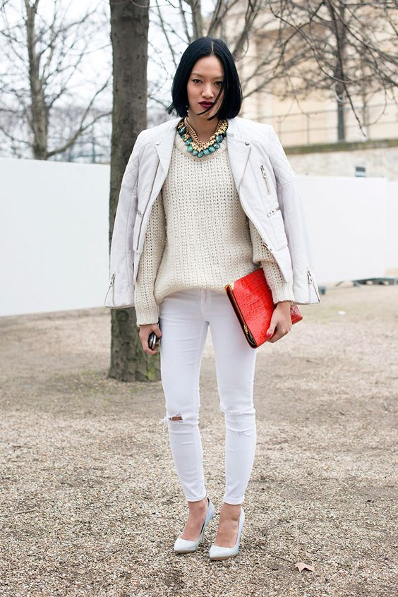 How to Wear White Denim in Winter | Cas, Elle magazine and The o'jays