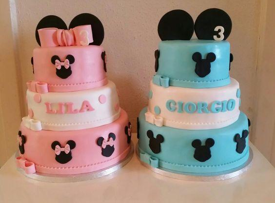 Mickey & Minnie  Mouse twin birthday cakes / tweeling verjaardagstaarten