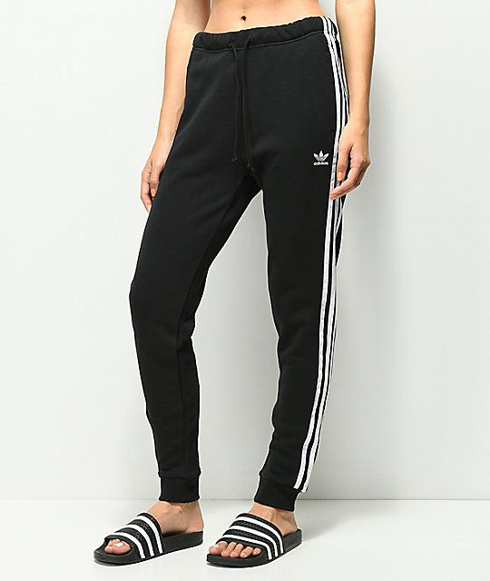 adidas 3 Stripe Cuffed Black Track Pants | Shit i want in