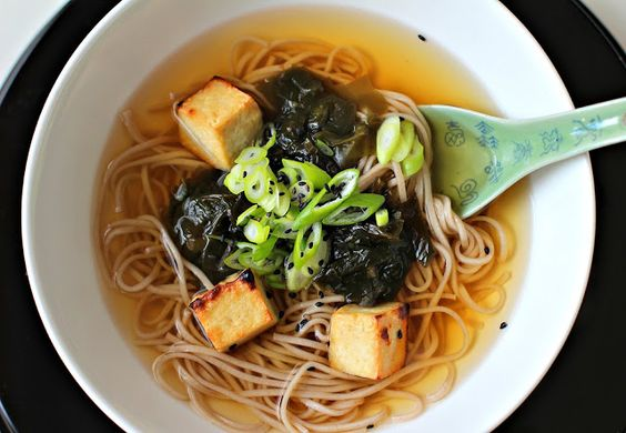 Milk and Honey: Buckwheat Soba Noodles in Ginger Broth with Grilled Beancurd