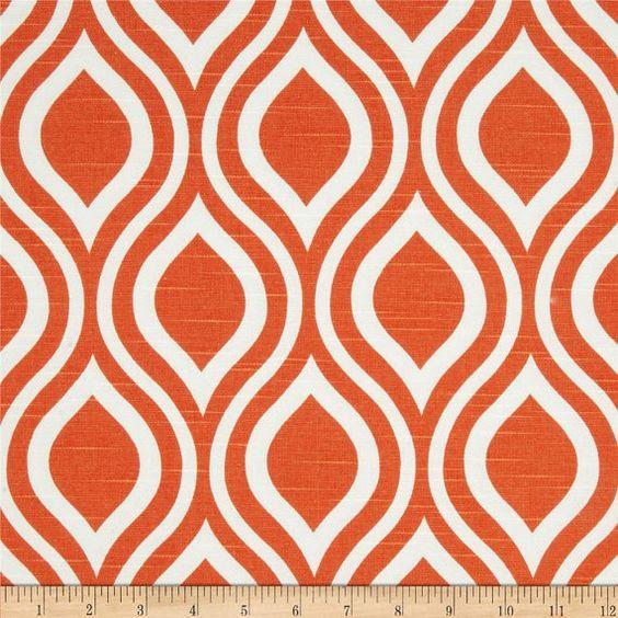 Pair of 25 inch wide Nicole Tangelo Orange Slub and White Curtains ...