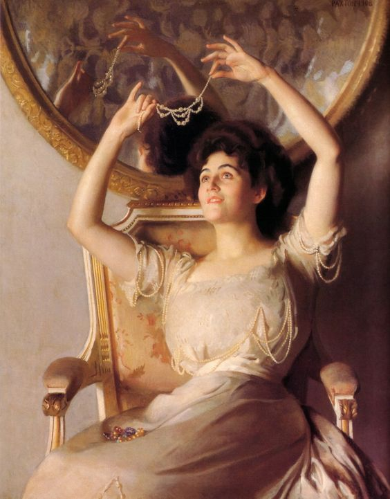 """The String of Pearls"" (1908) by William McGregor Paxton (1869-1941)."