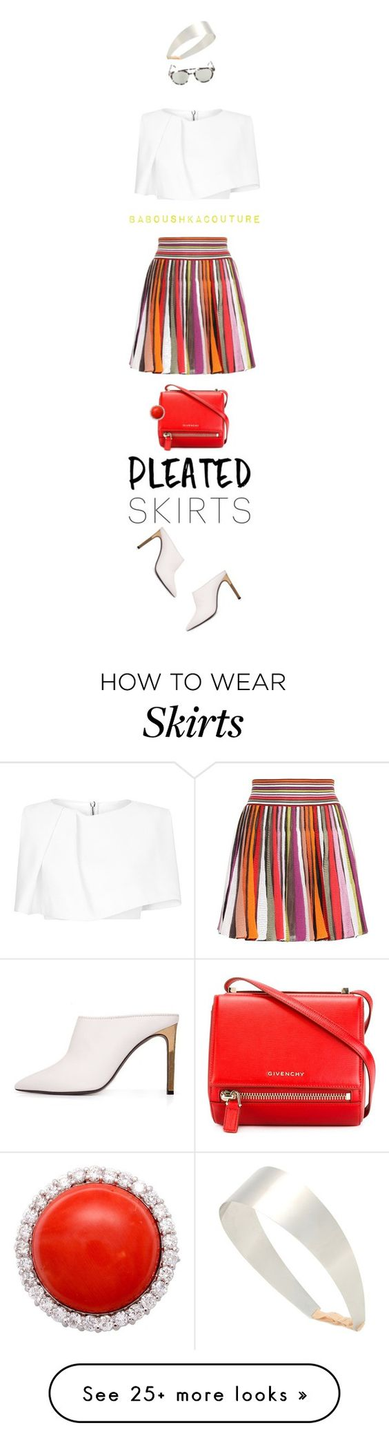 """""""missoni multicolor pleated skirt"""" by baboushkacouture on Polyvore featuring Missoni, Givenchy, Maticevski, Mykita and Lanvin"""