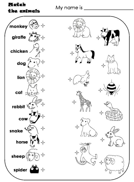 worksheets for preschoolers matching animals – Farm Worksheets for Kindergarten