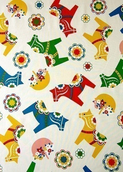 Cheerful fabric!  Dala horses are delightful