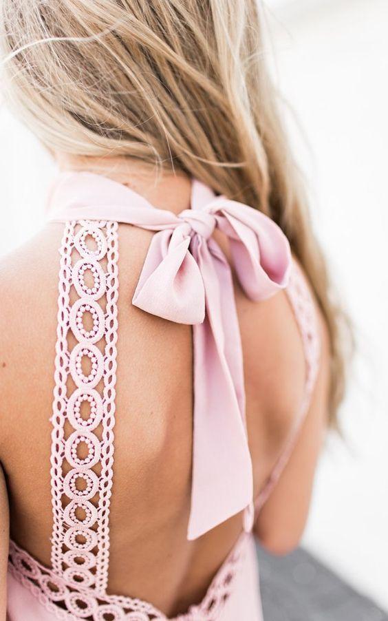 Blush Lace Tie Back Dress