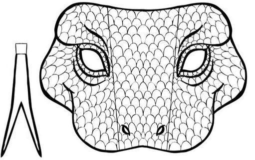 Dibujo Recortable Máscara De Serpiente Colorear Y Recortar