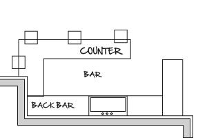 Basement Bar Design Ideas Blueprints | ... graph paper. Allow 30-in. to 36-in. between bar counters and back bar