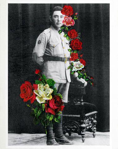Fábio Carvalho, 2010 / Reprodução de fotos (impressão laser s/ papel) com decalques florais à base d'água, verniz mordente e transfer ouro / 24x30cm / 6x R$366