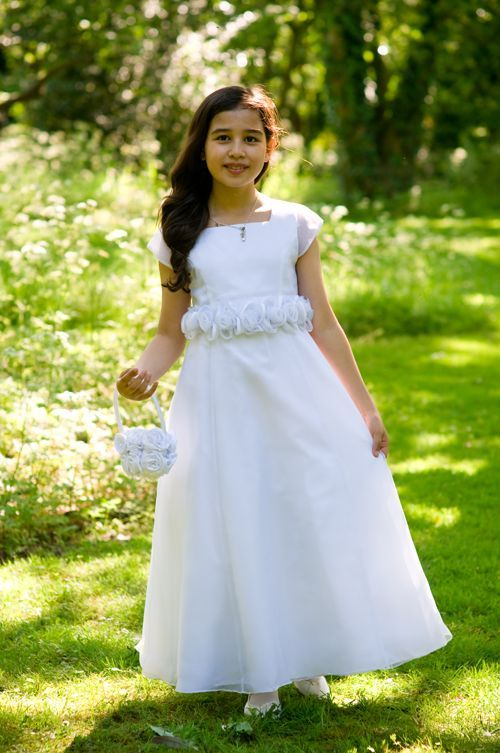 First Communion Dress - Satin and Organza A - line with Illusion Cap Sleeves- Rhianna - Age 7 years 8 years and 9 years - Girls Communion Dress Shop