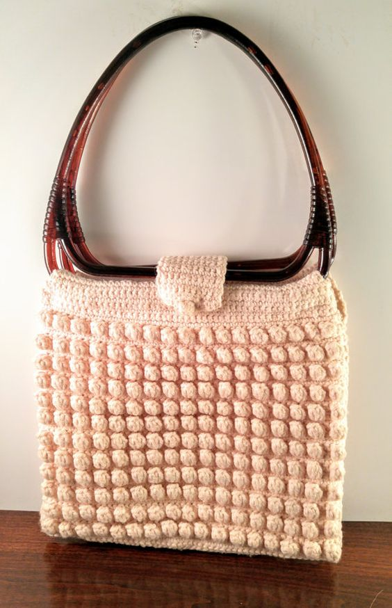 Vintage Hand Crocheted Purse with Brown by VintageQuinnGifts