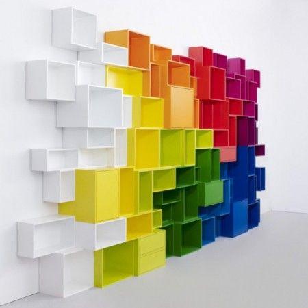 colorful cubic bookcase