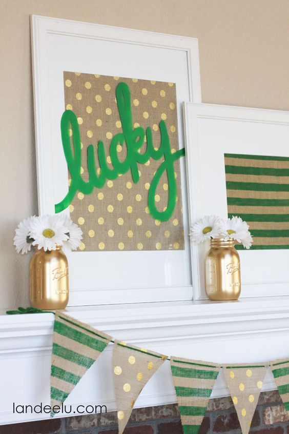 Decorate your home for St. Patrick's Day with this cute mantel ensemble! Lucky Artwork: