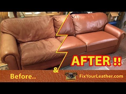 Our Leather Repair Dyes Used On This Old Faded Worn Leather Couch Youtube Leather Couch Repair Leather Restoration Couch Repair