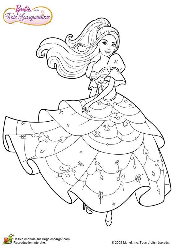 La Barbie mousquetaire qui danse, à colorier