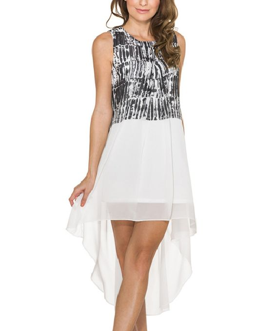 Look at this Black & White Geo Hi-Low Dress on #zulily today!
