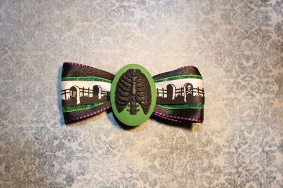 Death Rib Cage Hair Bow  Green by RiotGearHairBows on Etsy, $8.00