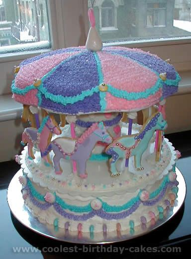 Purple, pink, blue, and white carousel cake. Am I brave enough to try this. There is a full tutorial.