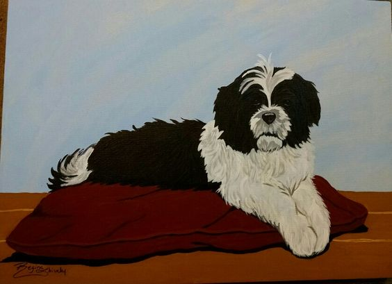 "Here is a 18""x24"" of a dog portrait of my Mom's dog I have done with Acrylics."