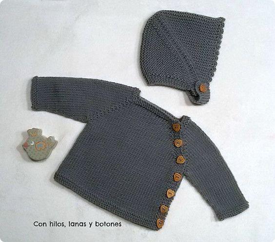 Con hilos lanas y botones conjunto chaqueta puerperium - Lanas y punto ...
