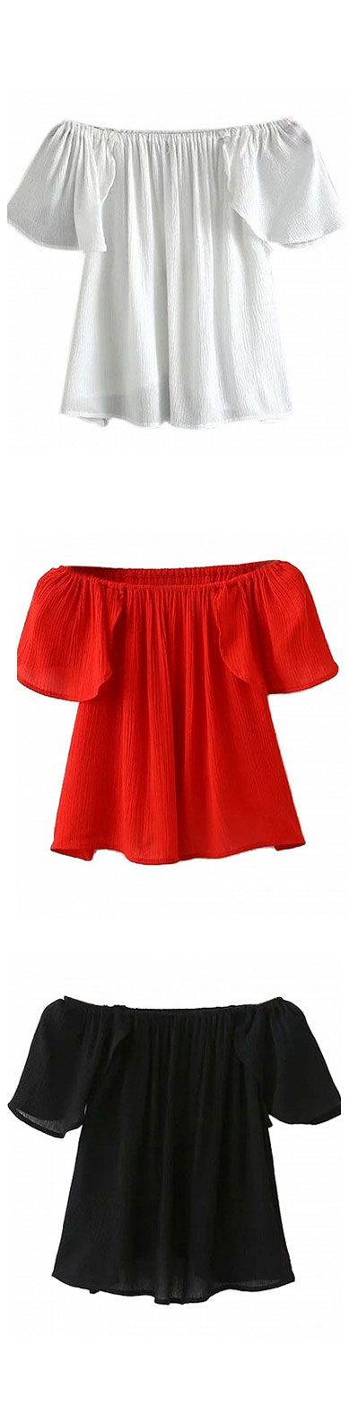 comfortable to wear - ruffle off shoulder crop top - loose fit - wear with maxi skirt and skinny jeans - red(most popular) ,white , black: