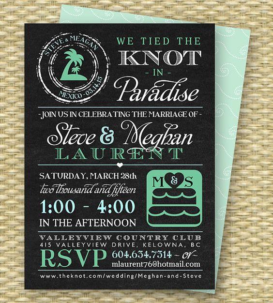 Chalkboard destination wedding invitation post destination for The knot wedding invitation language