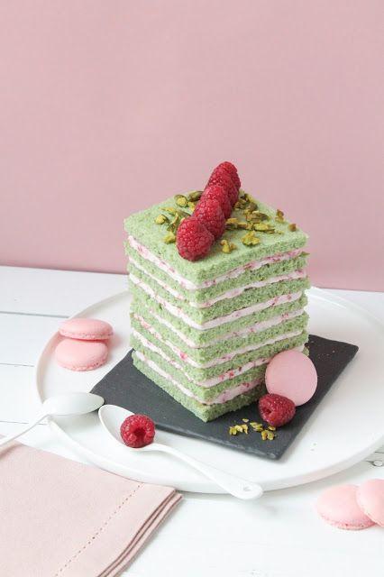 Gâteau pistache & framboise en étages