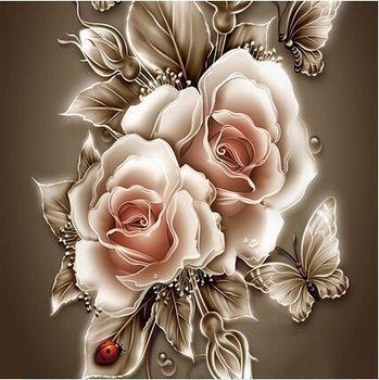 Strass cristal pintura Home Decor DIY pintura diamante rosa e borboleta cruz 3D padrão de ponto de diamante bordado