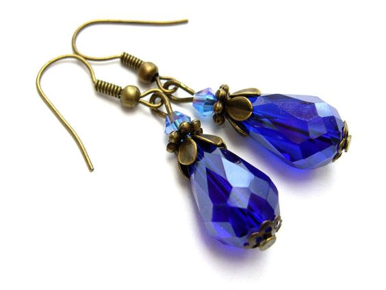 Vintage Ohrhänger - BLUE BLOSSOM von Schmucke*Ohren auf DaWanda.com