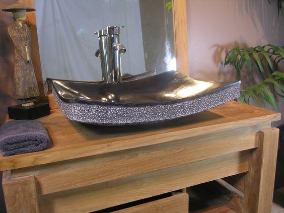 wanda collection vasque de salle de bain poser rectangle 50 cm en pierre marbre - Meuble Vasque Salle De Bain 50 Cm Nature