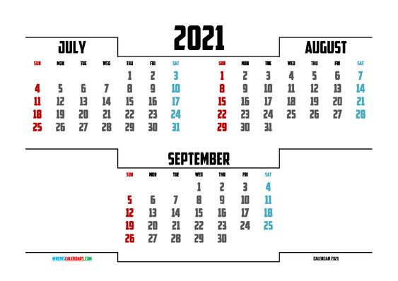 free printable july august september 2021 calendar
