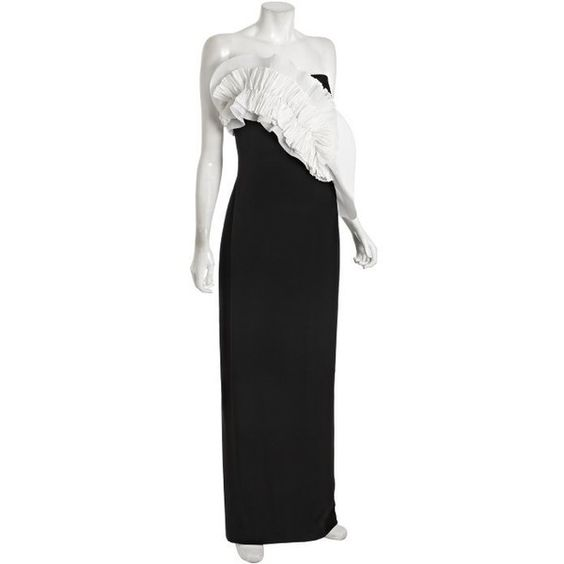 Notte By Marchesa Black And White Strapless Bow Detail Gown found on Polyvore