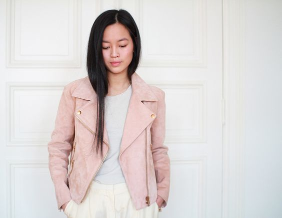Soft suede leather jacket by Acne in peachy-pink with rosegold