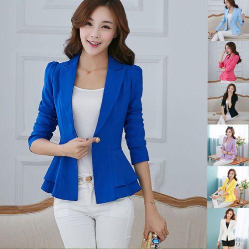 Women/'s Ladies Fashion Suit Slim Fit Casual Business Blazer Jacket Coat Outwear
