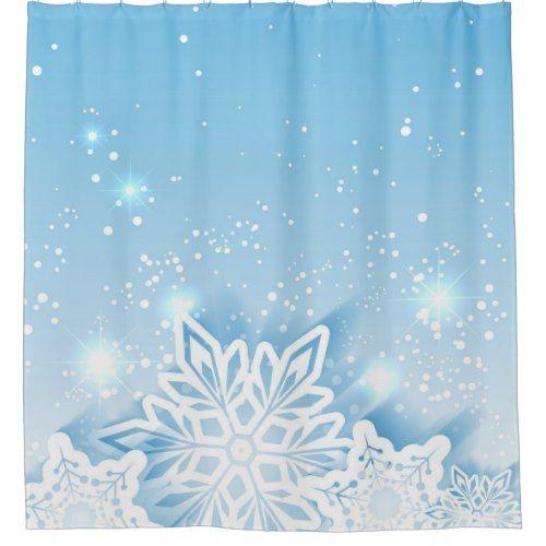 3 D Snowflakes Shower Curtain Zazzle Com Floral Shower