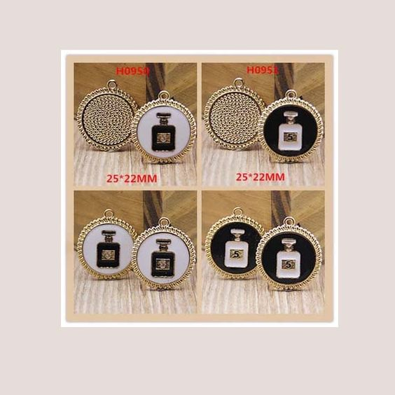 2pcs diy round perfume bottle pendants 25x22mm by MayanSupplies