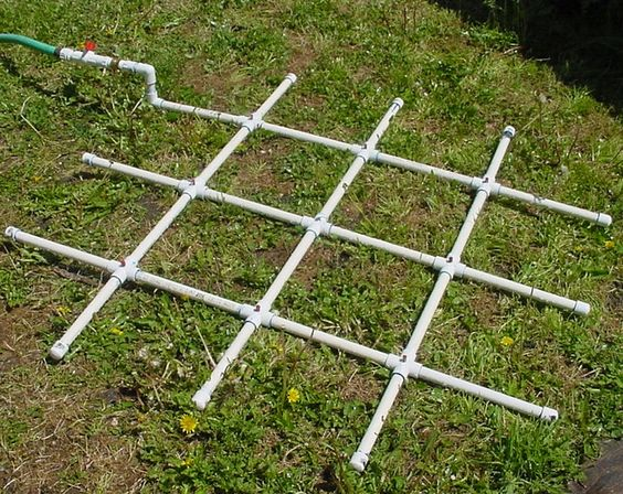 PVC watering grid for square foot gardening