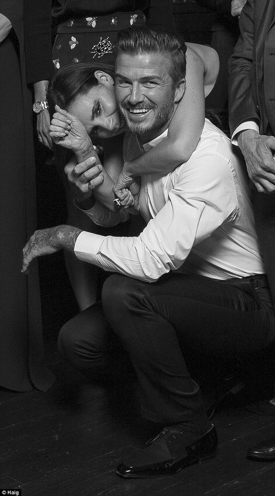 A precious moment: David and Victoria Beckham looked blissfully happy at the global launch of Haig Club in Scotland on Saturday