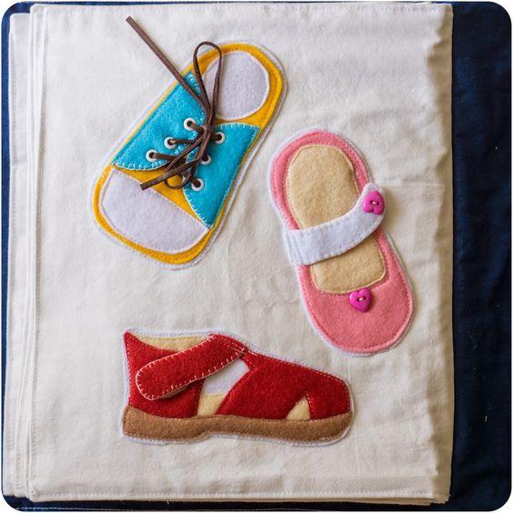 Chaussures avec lacets, bouton et scratch | Shoes Quiet Book Page