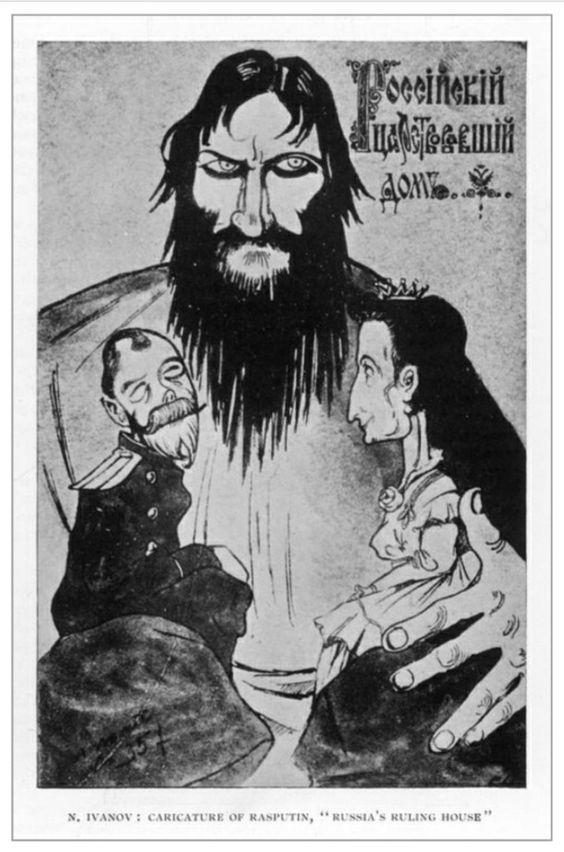 """Caricatura de Gregory Rasputin con el zar y la zarina como marionetas, titulada """"Russia Ruling House"""" de N. Ivanov."""