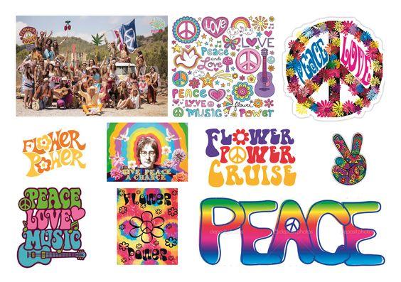 Moodboard concept 1: Thema jaren 60- 70. Dit is de tijd van de flower power en de hippies.  John Lennon is een gezicht van de Hippiebeweging. Hij is een vredesactivist en strijdt tegen geweld en oorlog.  De sfeer van het thema zal weergegeven worden in de typografie. Er wordt gebruik gemaakt van de typische lettertypes en kleuren in stijl van de jaren 60-70. De kleuren die gebruikt worden zijn fleurig. In de lettertypes zitten veel rondingen.