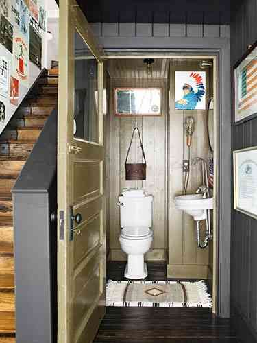Downstairs bathroom in pup tent green by martha stewart for Country living bathroom designs